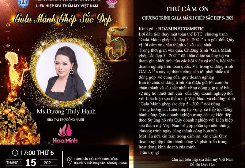 Công ty Hoa Minh trở thành Nhà tài trợ đồng hành tại Gala Mảnh ghép sắc đẹp 5
