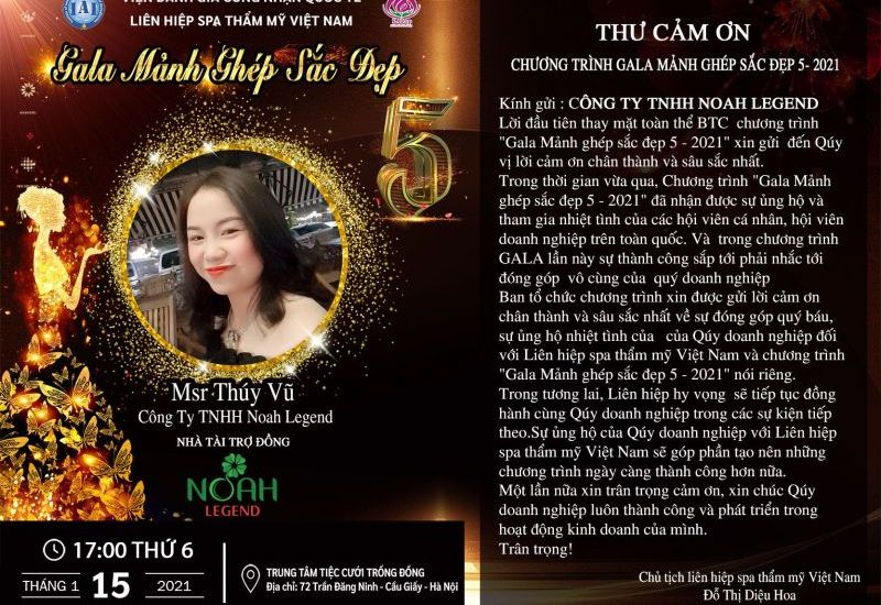 Noah Legend trở thành Nhà tài trợ Đồng tại Gala Mảnh ghép sắc đẹp 5