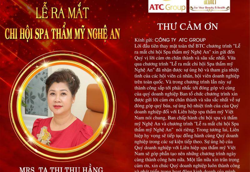 """ATC Group trở thành nhà tài trợ Kim Cương tại sự kiện """"Ra mắt Chi hội spa thẩm mỹ Nghệ An"""""""