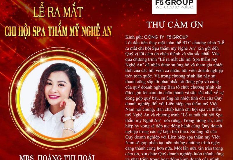 """F5 Group trở thành nhà tài trợ Đồng tại sự kiện """"Ra mắt Chi hội spa thẩm mỹ Nghệ An"""""""